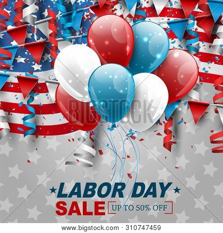 Labor Day Sale Design With Usa National Flag, Falling Confetti, And Ringlets. Realistic Vector Illus