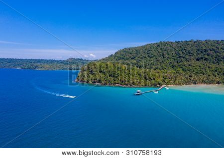 Blue Sky And Turqouise Sea Ocean At The Island Beside Koh Kood At The East Of Thailand.