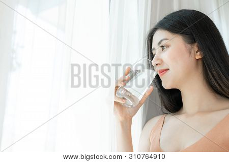 Beautiful Beauty Woman Asian Cute Girl Feel Happy Drinking Clean Drink Water For Good Health In The