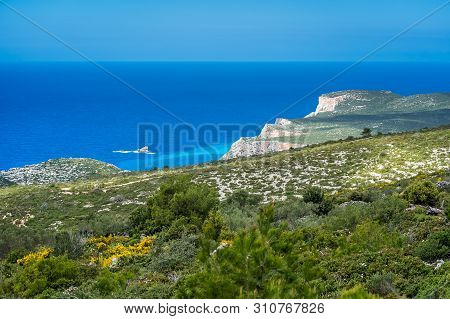 Panoramic View Of The Cliffs Near Navaggio Beach And Porto Limnionas In Summer On Zante Island, Gree