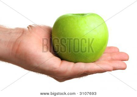 Man Holding Delicious Green Apple