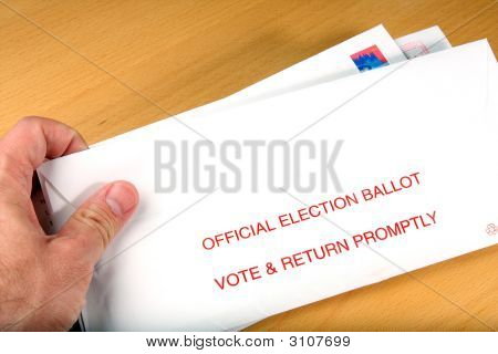 Voter Receiving Ballot In Mail