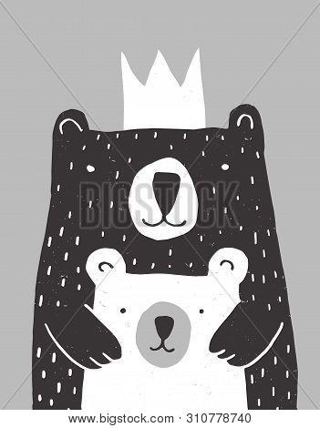 Cute Hand Drawn Big Bear And Little Baby Bear Vector Illustration. Gender Neutral Colors Nursery Art