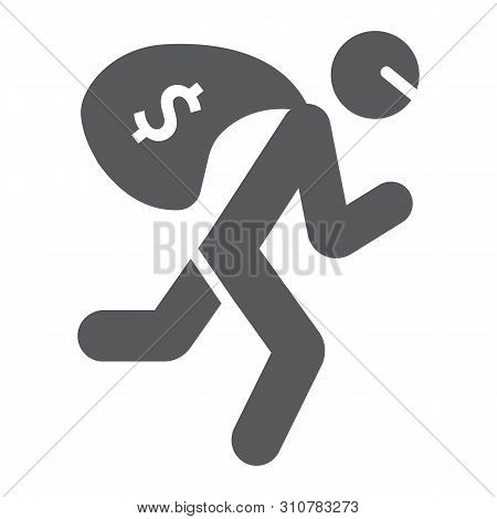 Robbery Glyph Icon, Crime And Burglary, Thief With Money Bag Sign, Vector Graphics, A Solid Pattern