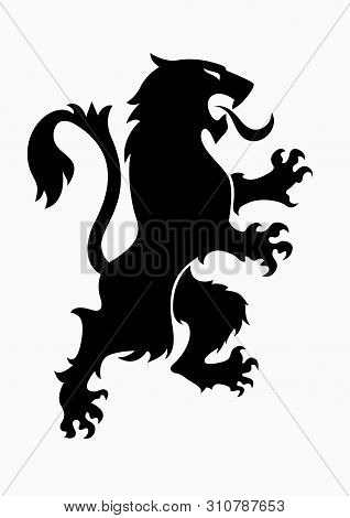 Heraldic Rampant Lion Black Silhouette. Coat Of Arms. Heraldry Logo Design Element.