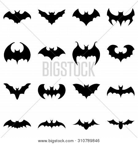 Set Of Black Silhouettes Of Bats Isolated On White Background. Collection Of Flying Bats. Halloween