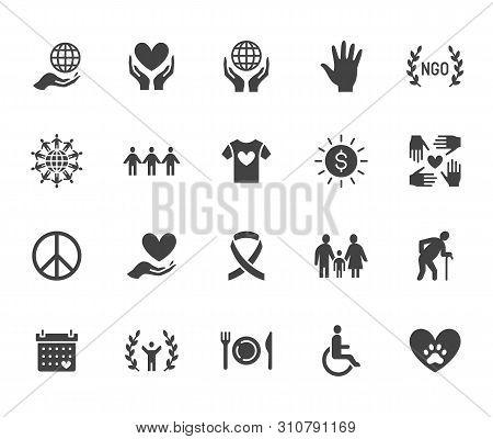 Charity Flat Glyph Icons Set. Donation, Nonprofit Organization, Ngo, Giving Help Vector Illustration