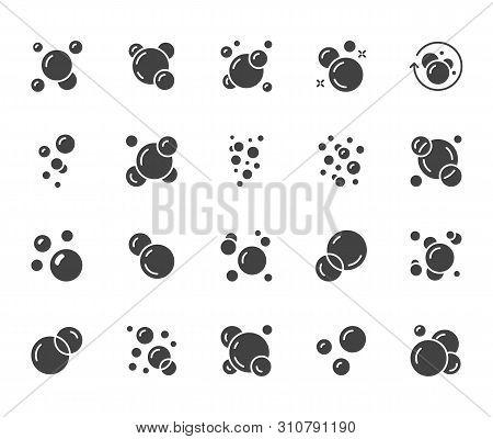 Bubbles Flat Glyph Icons Set. Soap Foam, Fizzy Drink, Oxygen Bubble Pictogram, Effervescent Effect V