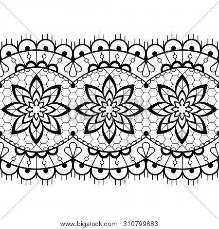 Retro Seamless Lace Vector Design - Black And White Detailed Vector Wedding Lace Pattern With Flower