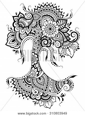 Mehndi Flower Pattern In Form Of Tree For Henna Drawing And Tattoo. Decoration In Ethnic Oriental, I