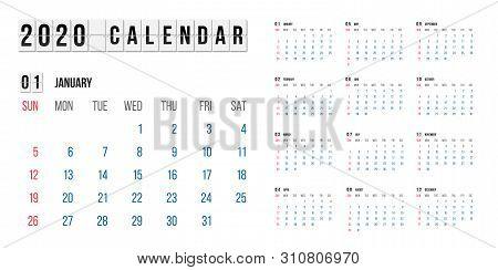Calendar For 2020 Year Vector Illustration. Basic Grid Colorful Design. Organizer Template In Black,