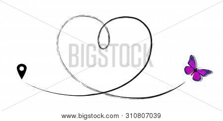 Butterfly Drawing With Trace Line And Map Pin. Vector Illustration