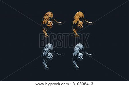 Set Of Wild Cats. Puma, Panther, Leopard, Snow Leopard In A Minimalist Style. Vector Illustration.