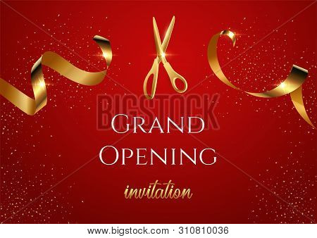 Grand Opening Invitation Vector Banner. Mall, Store Sales Promotional Poster. Shiny Scissors Cutting