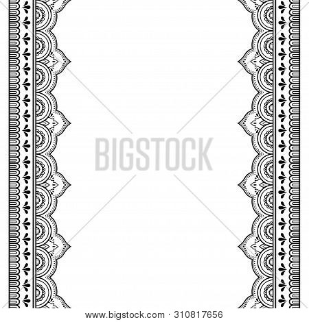 Set Of Seamless Border For Henna Drawing And Tattoo. Decoration In Oriental, Indian Style.