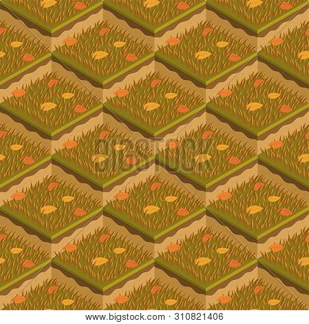 Grass and soil tile with layers isometric vector pattern. Dry autumn withered grass with fallen leaves. Seasonal autumn ocher grass soil layer pattern. Realistic nature grass tile, game design concept poster