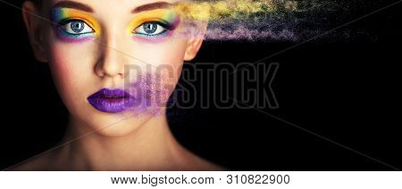 Creative Make-up, Studio Photo, Photo Processing. Portrait Fashion Model Woman Creative Make Up, Stu