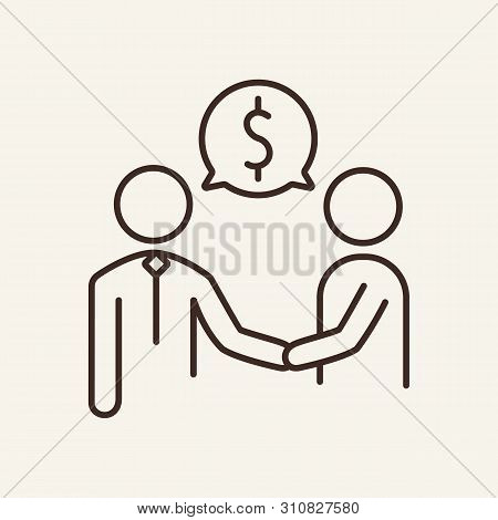 Business Cooperation Line Icon. Business Partners, Handshake, Dollar Sign. Business Concept. Vector