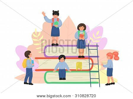 Group Of Tiny Primary Shool Children On Stack Of Textbooks. School Education Concept. Vector Illustr