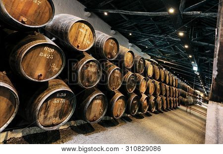 Porto, Portugal: Traditional Winery With Dark Wine Cellar Gallery And Numbers Of Wooden Barrels For