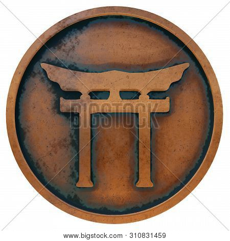 Shinto Symbol On The Copper Metal Coin 3d Rendering