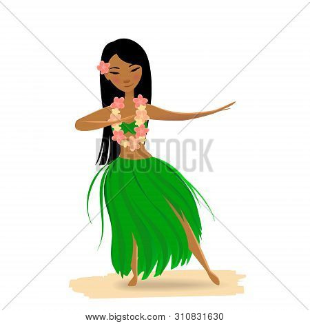 Hawaiian Girl Dancing Hula With Ukulele In Hands Isolated On White Background. Cute Polynesian Dance