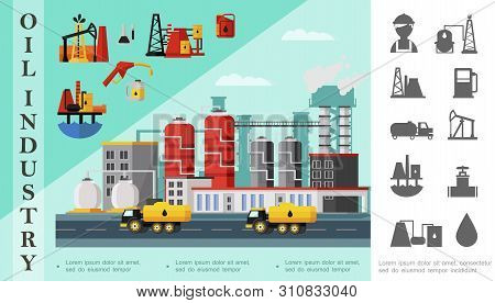 Flat Oil Industry Concept With Fuel Trucks Near Petrochemical Plant Oil Derrick Drilling Rig Caniste