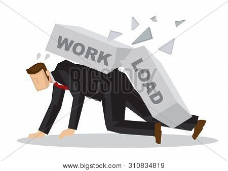 Businessman Attack By A Giant Brick Title Workload. Business Metaphor. Stress At Work. Concept Of Ov