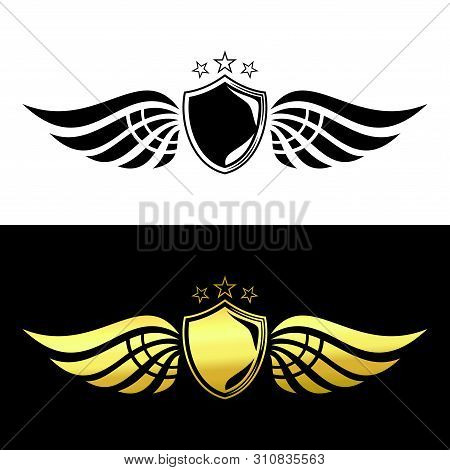 Save Download Preview Shield Wing Logo Blackk And Gold, Wing Logo Luxury Wings Vector, Wings Logo Ve