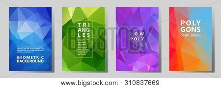 Facet Low Poly Vibrant Cover Page Layouts Vector Graphic Design Set. Crystal Texture Polygonal Patte
