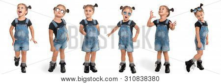 Childhood And People Concept - Set Of Stylish Little Girl Wearing Denim In Full Length Isolated Over