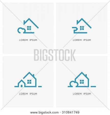 Realty Outline Symbol Set. Country House With Bush And Lawn, Home With Window And Chimney, Mailbox O