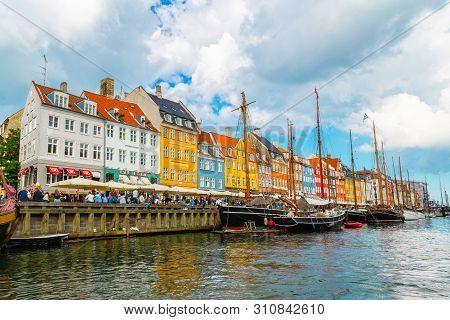 Copenhagen, Denmark - June 2016: Nyhavn New Harbor In Copenhagen, Denmark. Nyhavn District Is One Of