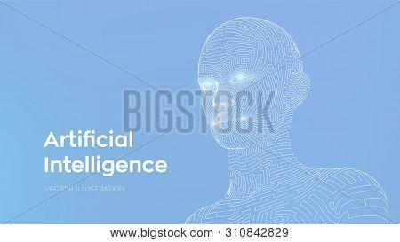 Artifactial Intelligence Concept. Ai Digital Brain. Abstract Digital Human Face. Human Head In Robot