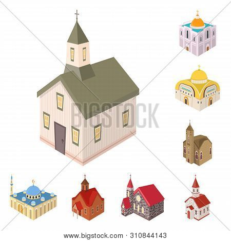 Vector Design Of Architecture And Building Symbol. Set Of Architecture And Clergy Stock Vector Illus