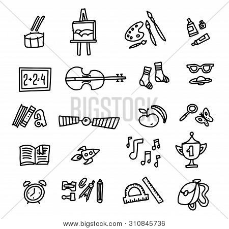 School Icons. Back To School. Hand Drawn Doodle Icon Set. Sketchy Vector Outline Cartoon Set Of Scho