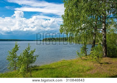 Beautiful River Landscape With Birches On The Shore On A Summer Day, Ivanovo Region, Russia.
