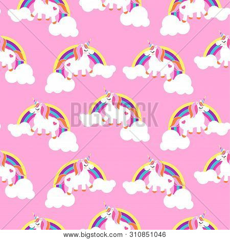 Cute Unicorns And Rainbows Pink Seamless Pattern. Fairytale Pony Child Characters Light Vector Backg