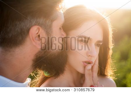 Affectionate couple caressing adoring each other. Beautiful young couple waiting to kiss. Young couple in love have fun - valentines day concept. Naughty and passionate. Sensual touch poster