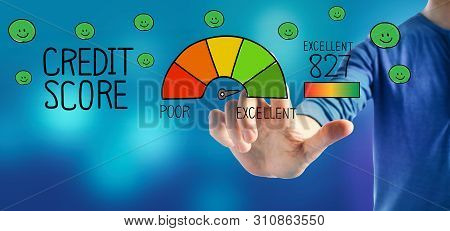 Excellent Credit Score Theme With A Man On A Blue Background
