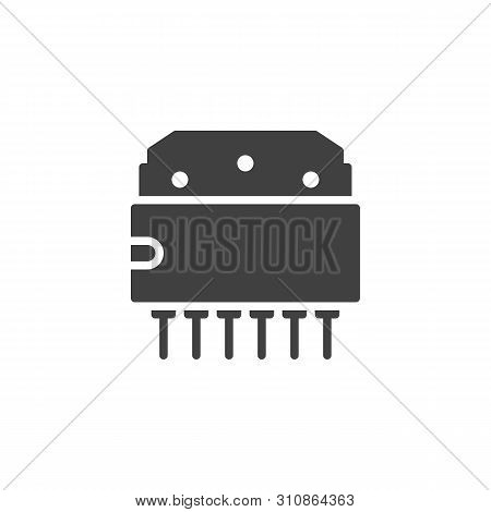 Computer Chip Vector Icon. Microcircuit Filled Flat Sign For Mobile Concept And Web Design. Transist