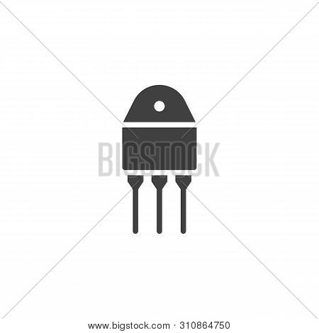 Transistor Chip Vector Icon. Semiconductor Device With Three Connections Filled Flat Sign For Mobile
