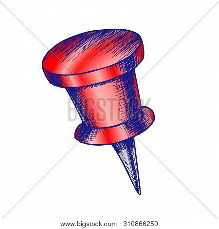 Stationery Pushpin With Cylinder Form Top Vector. Paperclip Pushpin Appliance For Fixation. Clerical