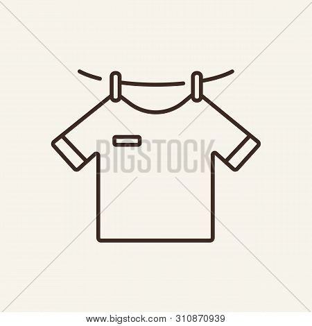 Drying Line Icon. Clothesline, Hanging T-shirt, Clean Clothes. Laundry Concept. Vector Illustration