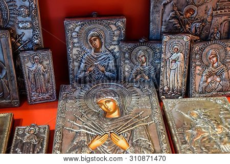 Demre, Turkey - May 21, 2019: Orthodox Icons On The Shop Counter