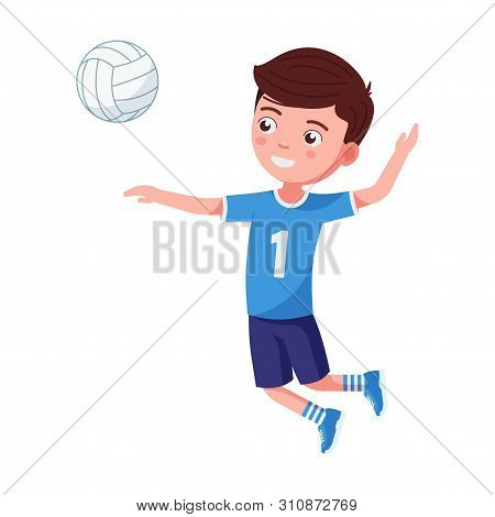 Boy Volleyball Player Hit The Ball In A Jump. Small Child In A Volleyball Uniform In A Jump Waving H