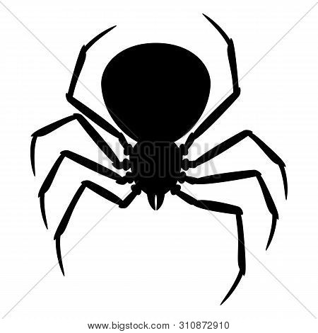 Black Widow Spider Silhouette. Illustration For Halloween Holiday.