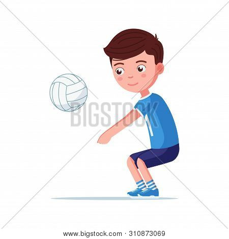 Boy Volleyball Player Takes The Ball With His Hands. Little Child In Sports Uniform Beats Off A Voll
