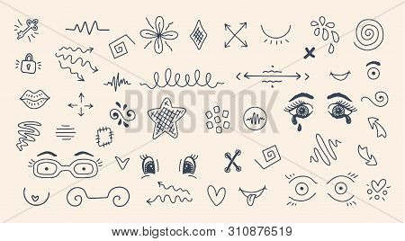 Funny designs for t shirt print with Boobs and cute elements like chest in doodle style. Hand drawn vector illustration poster