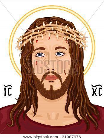 Portrait Of Jesus Christ With Christogram